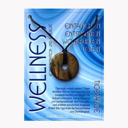 Donut aus Tigerauge für Sternzeichen Zwillinge - Edelsteinanhänger - 1