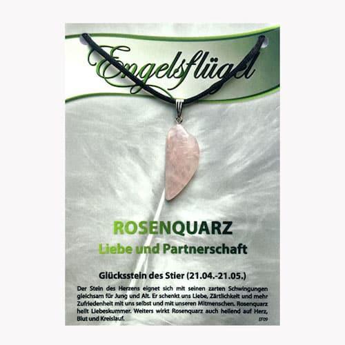 Rosenquarz für Sternzeichen Stier - Engelsflügel aus Edelstein