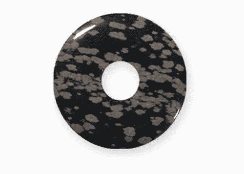 Donut aus Schneeflockenobsidian für Sternzeichen Waage - Edelsteinanhänger