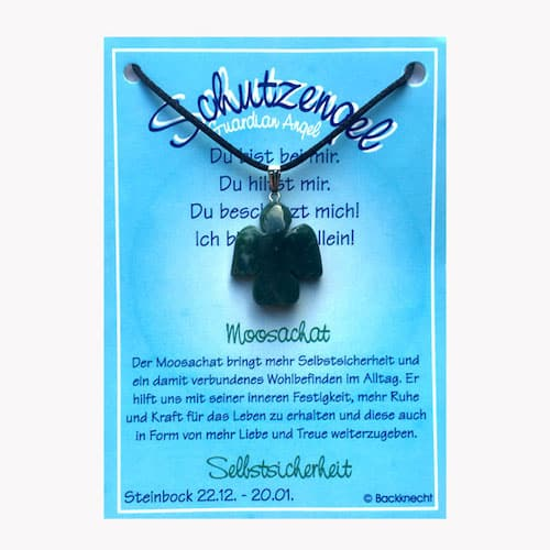 Schutzengel für Sternzeichen Steinbock - Edelstein Moosachat