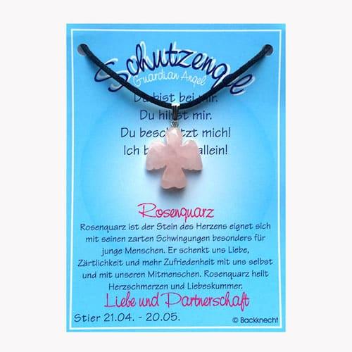 Schutzengel für Sternzeichen Stier - Edelstein Rosenquarz