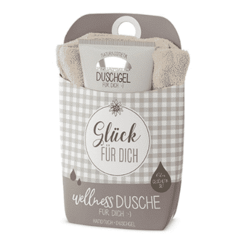 "Wellnessdusche Set ""Glück für Dich"" - Duschgel & Handtuch - La Vida"