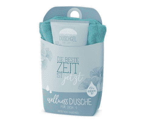 "Wellnessdusche Set ""Beste Zeit"" - Duschgel & Handtuch - La Vida"