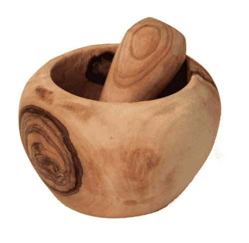Mörser mit Schale aus Olivenholz - 7,5 x 4 cm
