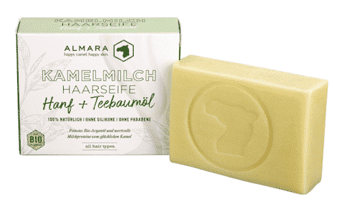 Almara Seife - Hanf & Teebaumöl - Kamelmilch Haar- und Körperseife - Zhenobya 100 g