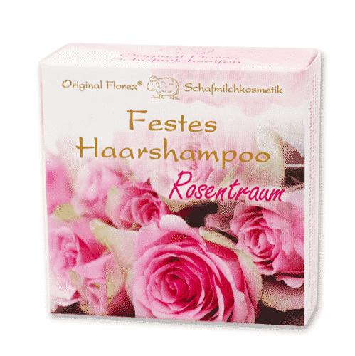 Festes Shampoo Rosentraum - Haarshampoo mit Schafmilch - Florex 58 g