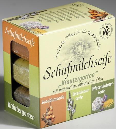 """Schafmilchseife """"Kräutergarten"""" - 3er Set: Sanddorn, Eisenkraut, Wiesenkräuter - Saling je 100 g"""