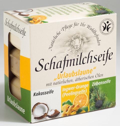 "Schafmilchseife ""Urlaubslaune"" - 3er Set: Kokos, Zirbe, Ingwer-Orange - Saling je 100 g"
