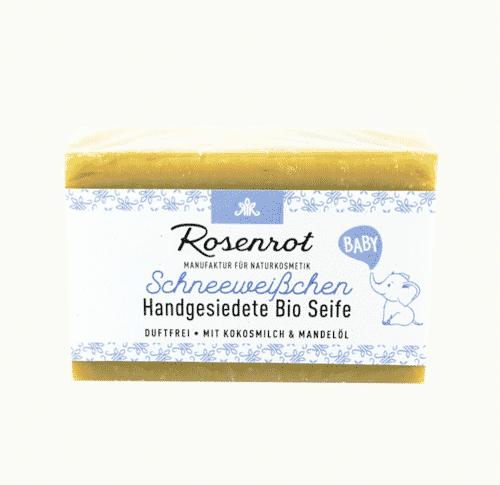 Bioseife Schneeweißchen - Duftfrei für Baby - Rosenrot 100 g