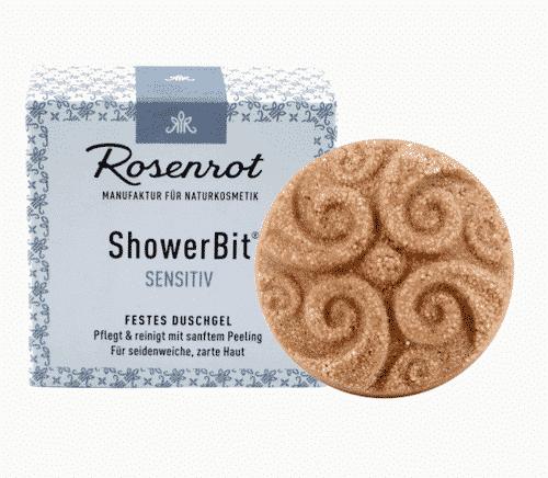 Festes Duschgel Sensitiv - ShowerBit - Rosenrot 60 g