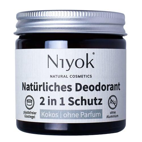 Kokos - 2 in 1 anti-transpirante Deocreme ohne Parfum - Niyok 40 ml