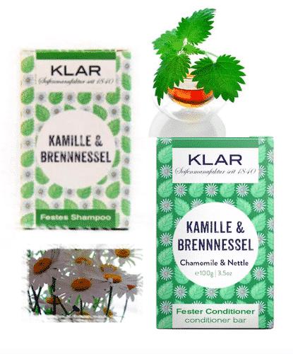 2er Set - Kamille und Brennnessel - Festes Shampoo und Conditioner