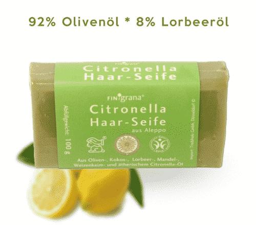 Aleppo Haarseife Citronella mit 8% Lorbeeröl und 92% Olivenöl - Pearl 100 g