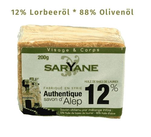 Aleppo Seife - 12% Lorbeeröl und 88% Olivenöl - Saryane 200 g