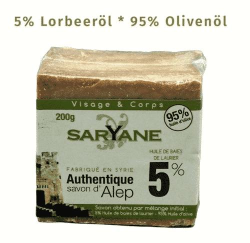Aleppo Seife - 5% Lorbeeröl und 95% Olivenöl - Saryane 200 g