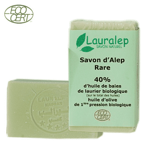 Bio Aleppo Seife mit 40% Lorbeeröl und 60% Olivenöl - Lauralep 150 g