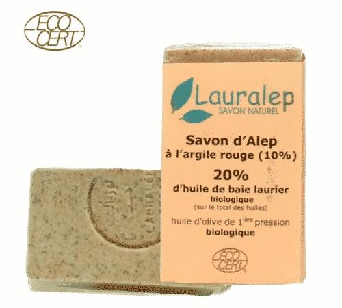 Bio Aleppo Seife rote Tonerde - Peelingseife - Lauralep 150 g