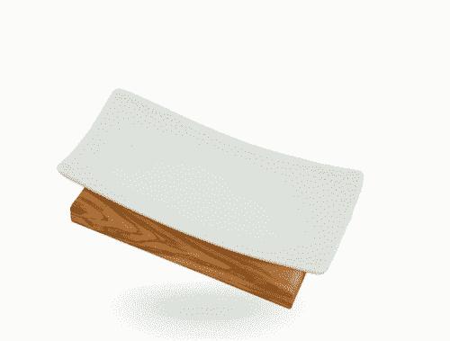 Seifenablage aus Olivenholz und Porzellan