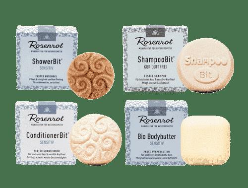 Rosenrot Set duftfrei - Shampoo + Conditioner + Duschgel + Bodybutter