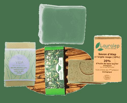 3er Set Seifen mit Ton - und Heilerde + Seifenablage