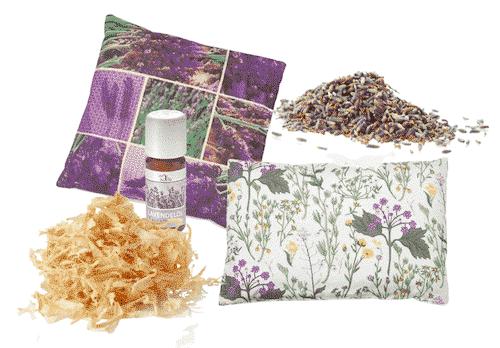 Kissen Set II - Zirben - und Lavendelkissen + Kräuterkissen + Nachfüllpackung + Lavendelöl