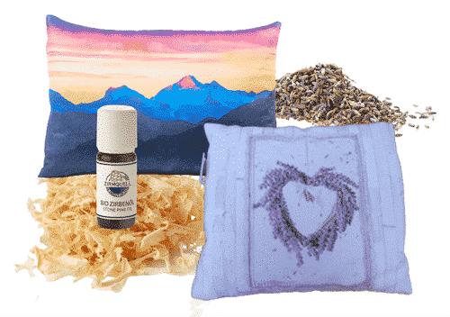 Kissen Set III - Zirbenkissen + Lavendelkissen + Nachfüllpackung + Lavendelöl