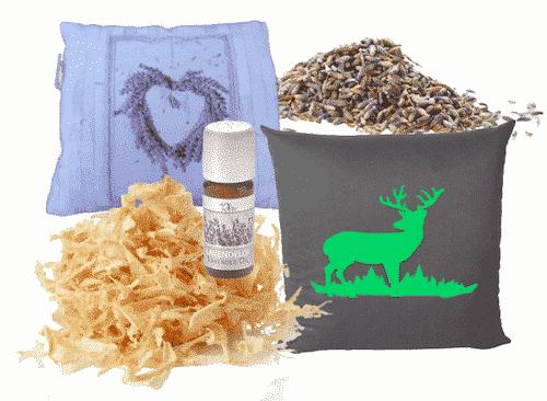 Kissen Set IV - Zirbenkissen + Lavendelkissen + Nachfüllpackung + Lavendelöl