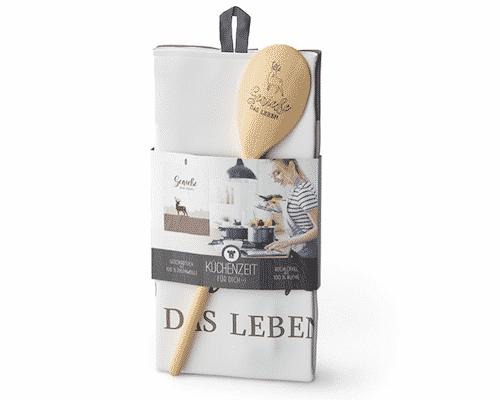 Küchenzeit genieße Leben - Kochlöffel & Geschirrtuch - La Vida