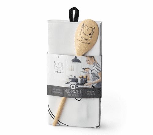Küchenzeit mit Liebe gekocht - Kochlöffel & Geschirrtuch - La Vida