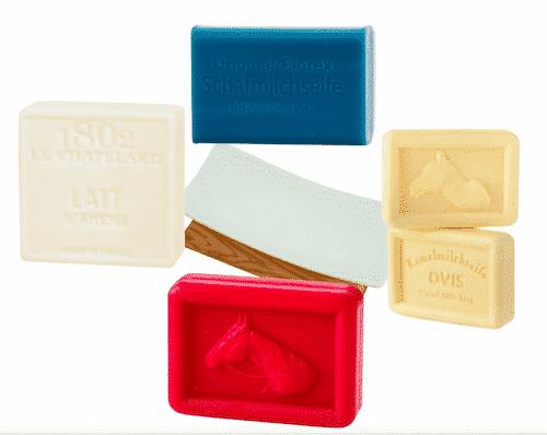 Milchseifen Probierpaket V - Stuten-, Kamel-, Eselinnen- und Schafmilchseife + Seifenablage