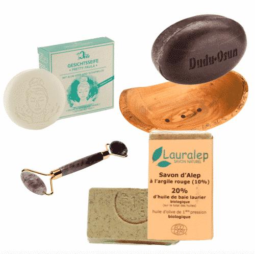 Probierpaket I - Gesichtspflege - Seifen + Seifenschale + Gesichtsroller