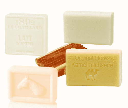 Probierpaket Milchseifen - Stuten-, Kamel-, Eselinnen- und Schafmilchseife + Seifenablage