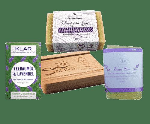 Vegane Pflege I - Seife + Shampoo + Conditioner + Seifenablage
