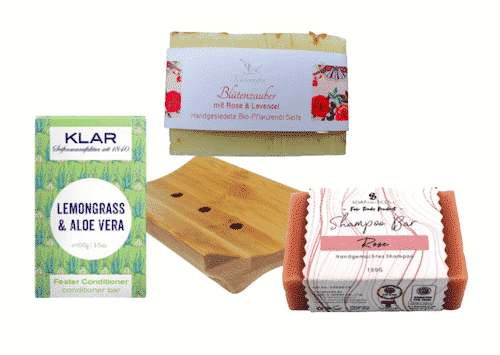 Vegane Pflege II - Seife + Shampoo + Conditioner + Seifenablage