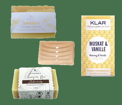 Vegane Pflege IV - Seife + Shampoo + Conditioner + Seifenablage