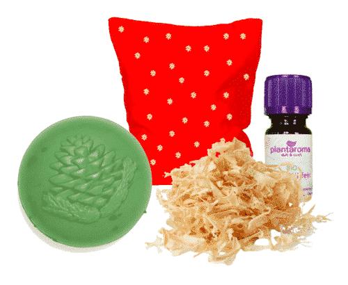 Zirbe - Starterset II - Kissen + Schafmilchseife + Ätherisches Öl