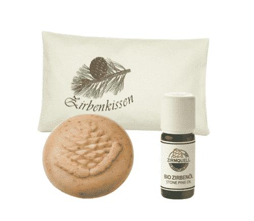 Zirbe - Starterset III - Kissen + Schafmilchseife + Ätherisches Öl