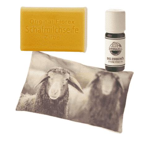 Zirbe - Starterset V - Kissen + Schafmilchseife + Ätherisches Öl