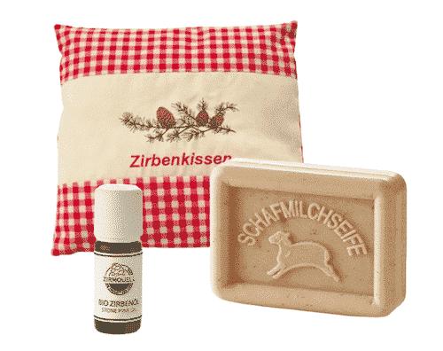 Zirbe - Starterset VI - Kissen + Schafmilchseife + Ätherisches Öl
