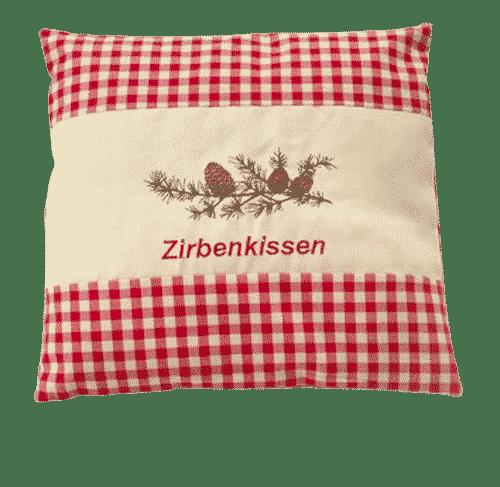 Zirbenkissen-rot-Zweig-mit-Zirbenspaene-Ovis-40-x-40-cm
