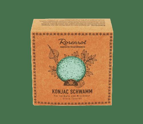 Konjac Schwamm - Grüne Tonerde - Rosenrot